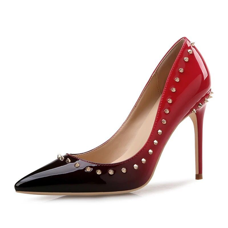 2018 New Sexy Thin Heels Party Dress Pumps Womens Fashion Punk Rivet Genuine Leather  Shallow Spring&Autumn  Pumps Shoes34-412018 New Sexy Thin Heels Party Dress Pumps Womens Fashion Punk Rivet Genuine Leather  Shallow Spring&Autumn  Pumps Shoes34-41