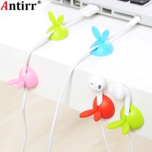 4 Rabbit Ears Cable Winder Bunny Charger Wire Cord Organizer Clip Tidy Desk Earphone bobbin clamp Ties Fastener Collation Holder aiffcet cable drop clip desk tidy cable organizer wire cord usb charger cord holder organizer holder cable winder for phone