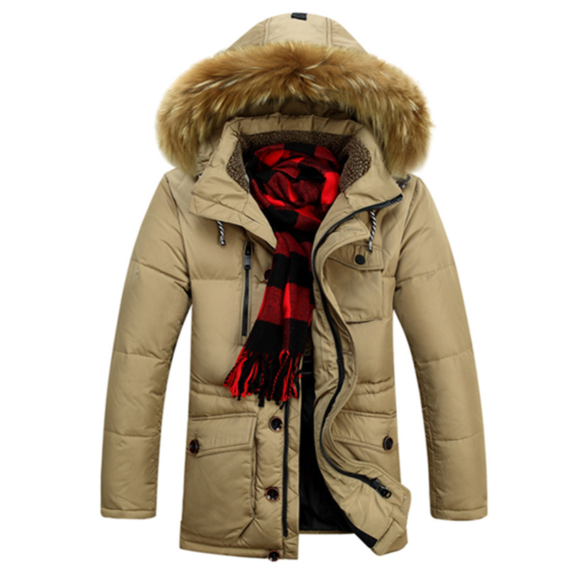 Size M-3XL New Mens Casual Long Thick Fur Collar Winter Warm Snow White Duck Down Jacket Coat For Men Winter,2 Colors,1618