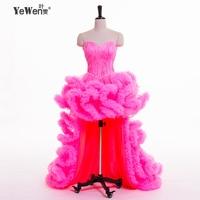 Royal Blue Black Ivory Red Champagne Front Short Long Back Sweetheart Sleeveless Ruffles Feather Wedding Dress