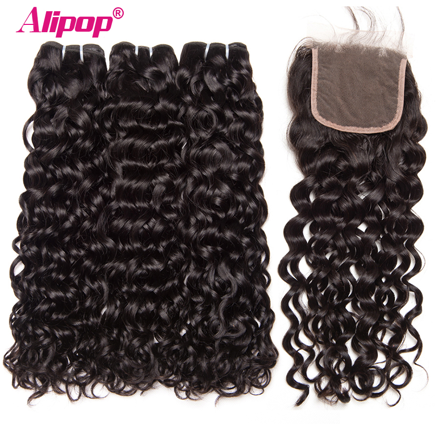 Water Wave Bundles With Closure Brazilian Hair 3 Bundles With Closure Remy Human Hair Weave Bundles
