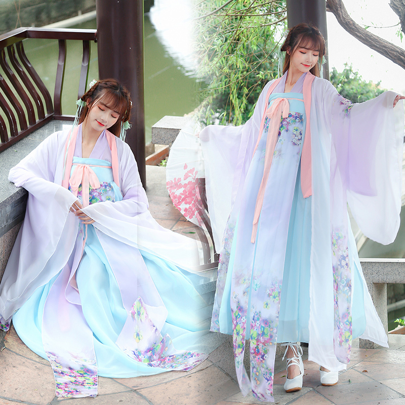 Chinese Traditional Women Hanfu Dress Fairy Princess Dresses Hanfu Folk Dance Clothing Tang Dynasty Ancient Costume DNV10732