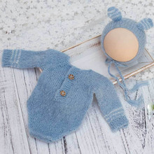 Newborn Photography Baby Baptism Clothing Knit Long Sleeve Suit Set Photo Shoot Accessories for Studio Bebe Photographie