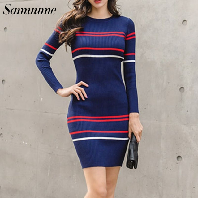1cb3054b2c7 Samuume Women Casual O-Neck Striped Knitted Dresses 2018 Fashion Basic  Bodycon Wrap Long Sleeve Autumn Dresses 1807084. Previous  Next