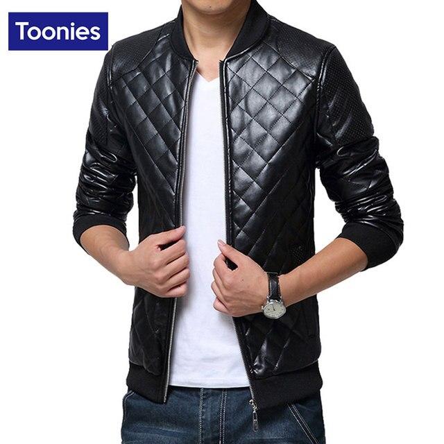 Men Overcoat Faux Leather Coat Korean Fashion Slim men's Leather Jacket Windbreaker Outerwear Coats With Rib Sleeve Style