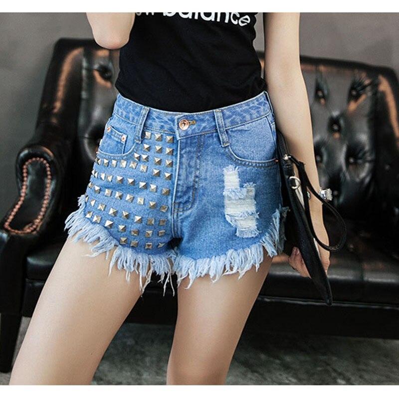Denim Shorts Tassel Zipper Cotton Women Casual Wide Loose Rivet Vogue-Clothes Empire
