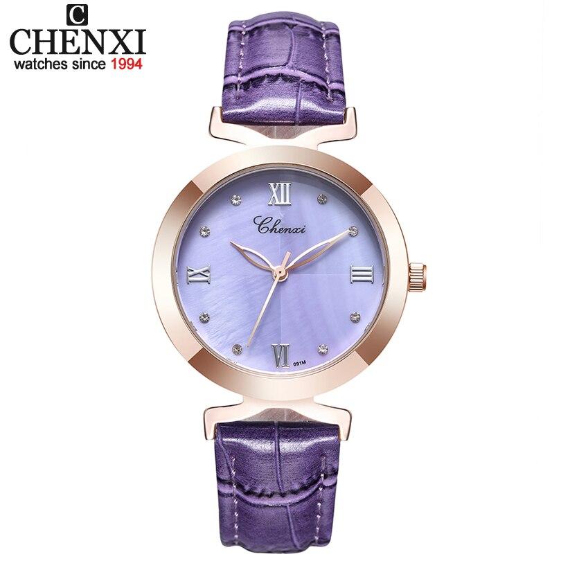 CHENXI 2019 New Fashion Women Quartz Watch Women's Shell Dial Leather Casual Dress Rose Gold Watches Ladies Clock Female Xfcs