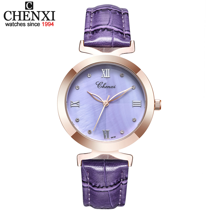 CHENXI 2017 New Fashion Women Quartz Watch women's Shell Dial Leather Casual Dress Rose Gold Watches Ladies Clock Female xfcs xfcs