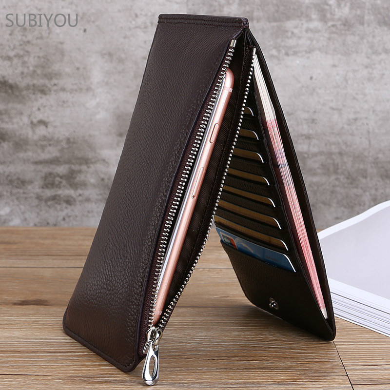 Real Leather RFID Credit Card Thin Long Wallet for Mobile