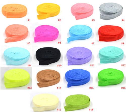 "5/8"" multicolor Solid Color fold over elastic Ribbon 10yard/lot girls' hair tie accessories DIY handmade webbing headband A123"