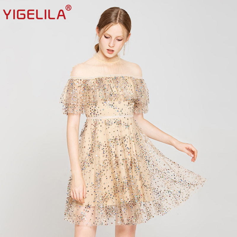 YIGELILA Fashion Women Sequined Party Dress Autumn Mesh Stand Neck Butterfly Sleeve Ruffles Empire Slim Knee