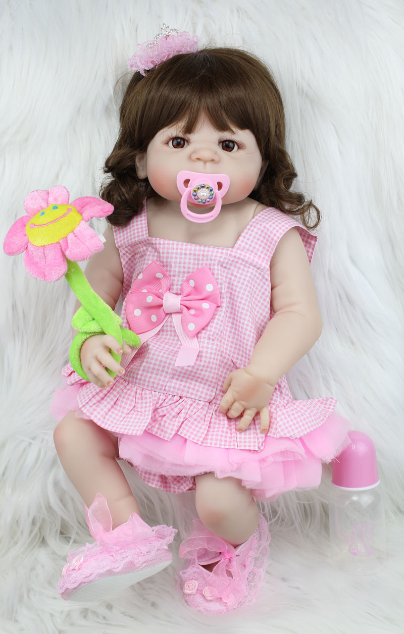 55cm Full Body Silicone Reborn Sweet Girl Baby Doll Toys Newborn Princess Toddler Babies Doll Birthday Gift Present Child Bathe hot 57cm full body silicone reborn sweet girl baby doll toys newborn princess toddler babies doll birthday gift child bathe toy
