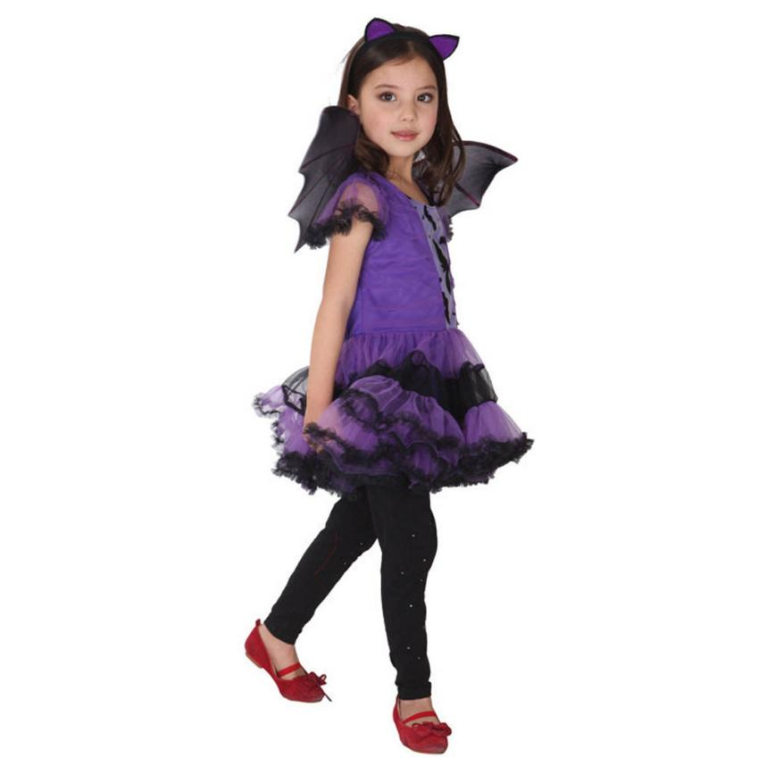 New Kids Girls dress dropship Toddler Kids Baby Girl Halloween Clothes Costume Dress+Hair Hoop+Bat Wing Outfit H25 SEP19