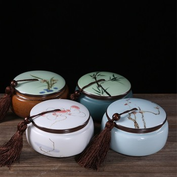 Ceramic Coffee Canister   Hand Painted Tea Jar Ceramic Teaware Chinese Kung Fu Tea Set Accessories Nut Coffee Beans Tea Leaves Seal Cans Canister Decor