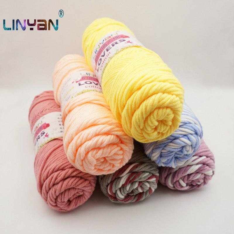 6pcs/lot Lovers Cotton Thread Natural Milk Cotton 3mm Thick Yarn For Knitting Baby Wool Yarn Crochet Thread Hand Knitting ZL50