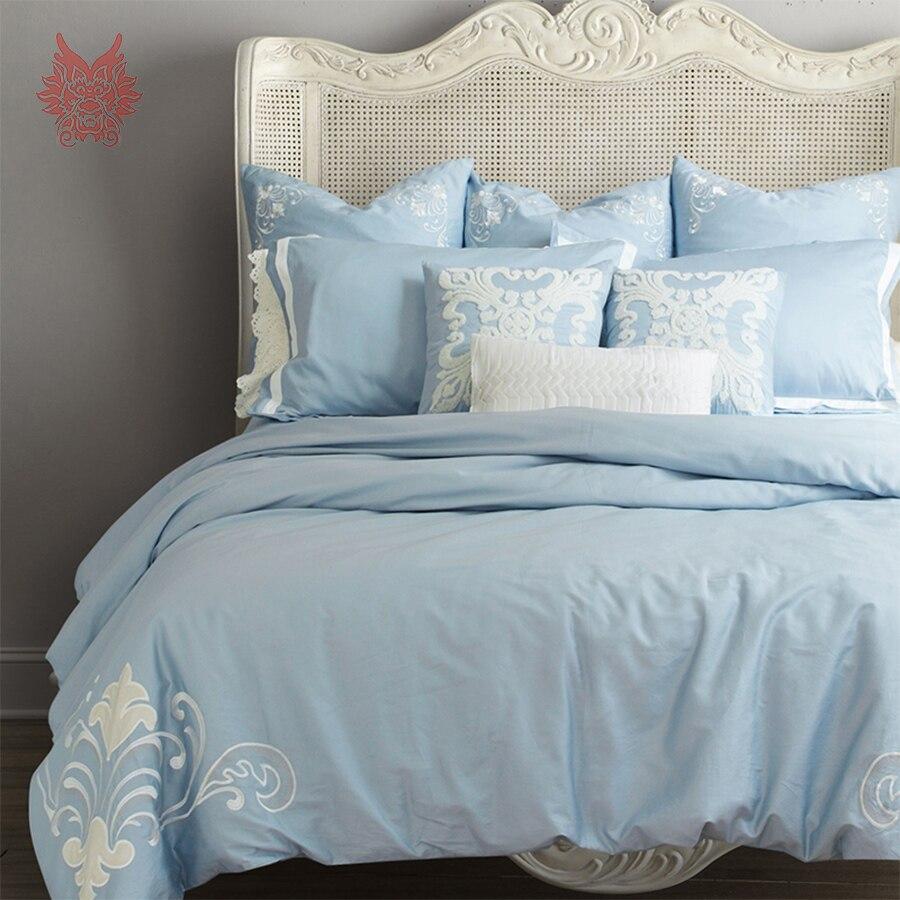 Palais floral patch broderie hommage soie ensemble de literie 100% coton housse de couette drap de lit équipée type ropa de cama SP3799