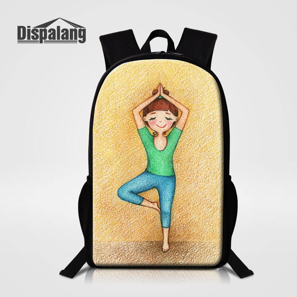 Cute Yoga Girl Print Children School Bags Casual Bookbags for Teens Girls Cartoon Backpack Lightweight Travel Bagpack Back Pack(China)