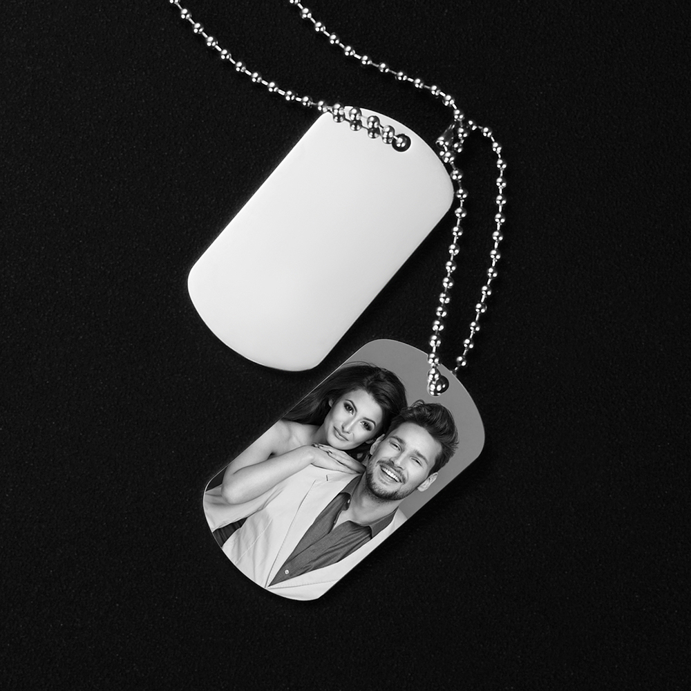 Dog Tag Military Army Photo ID Name Men Linked Pendants Necklace Personalized Custom Engraved Stainless Steel Male Gift SL-108 image