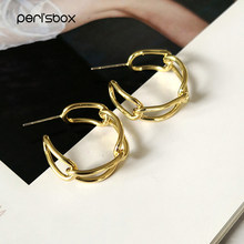 Peri'sbox-pendientes femeninos de aro de cadena cubana, pendientes de oro de 22mm, tamaño mediano, estilo bohemio Tribal, Aros Dorados