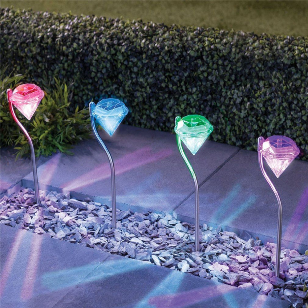 ICOCO 4pcs/set LED Solar Powered Lamp Diamond Shape Outdoor Lawn Lights for Pedestrian P ...