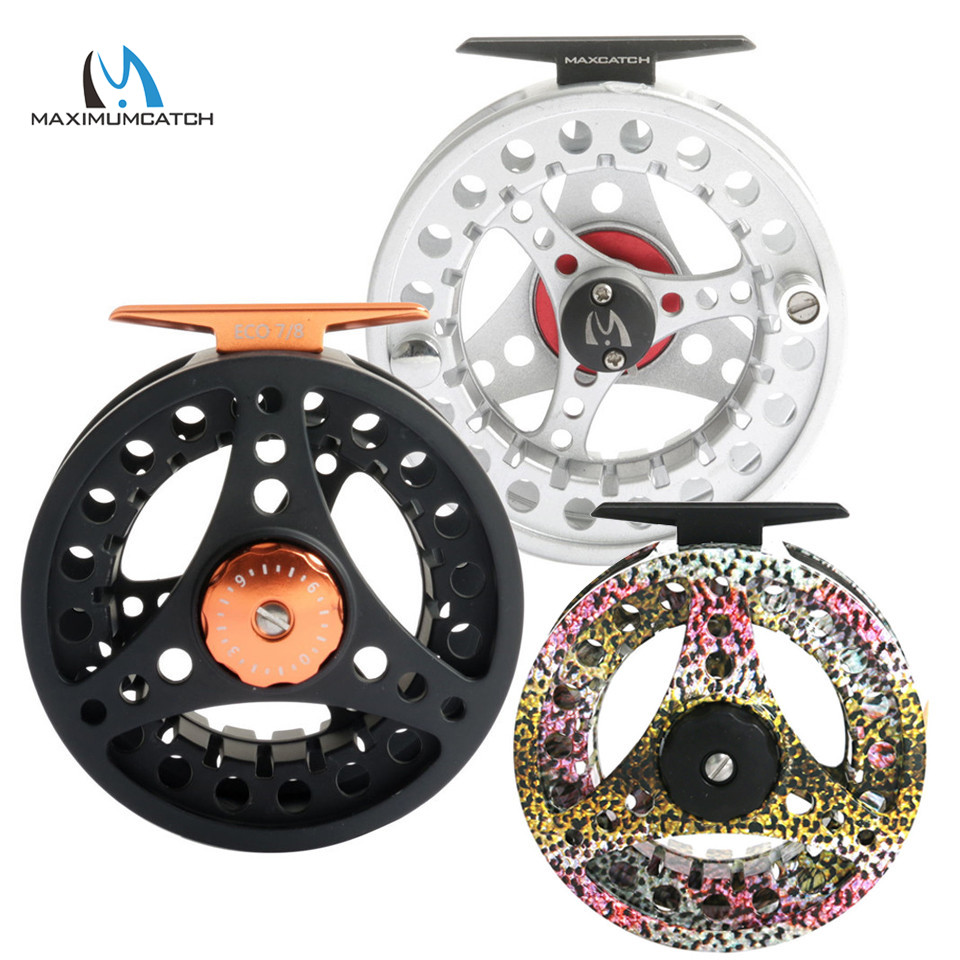 Maximumcatch ECO 1/2/3/4/5/6/7 / 8WT Fly Reel Punjung Besar Aluminium Fly Fishing Reel dengan Spool Ekstra