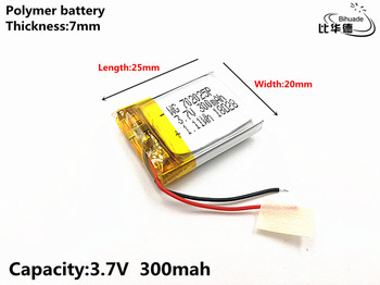 1pcs/lot Good Qulity 3.7V,300mAH,702025 Polymer lithium ion / Li-ion battery for TOY,POWER BANK,GPS,mp3,mp4 image