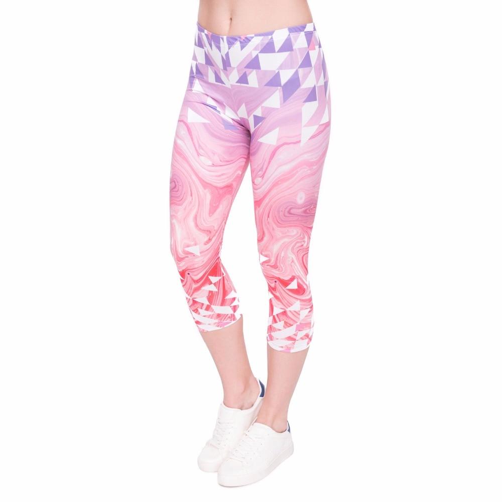 Fashion Summer Women Capri Leggings Triangles Pink Marble Printing Sexy Mid-Calf 3/4 Trousers Movement Leggins Capri Pants