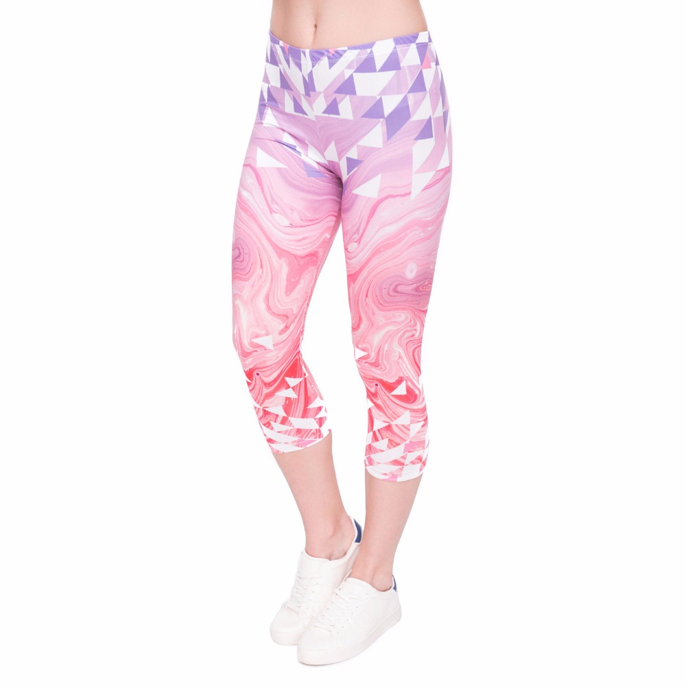 Fashion Summer Women Capri   Leggings   Triangles Pink Marble Printing Sexy Mid-Calf 3/4 Trousers Movement Leggins Capri Pants