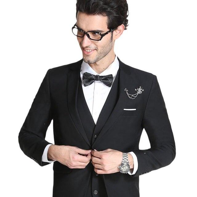fe02749557a New 2018 business style work dress men suit set wedding suits for men plus  size 6xl costume homme blazer+vest+pant 10-color XF53