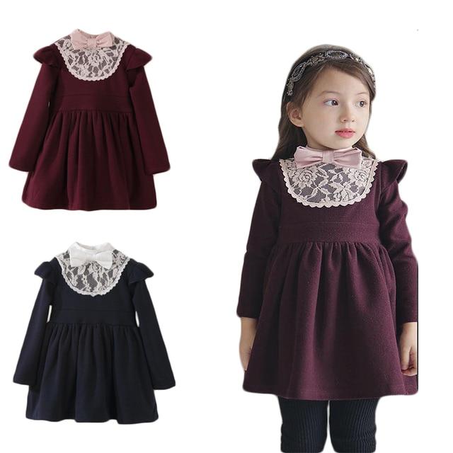 Зимние платья для маленьких девочек, теплые хлопковые платья принцессы для маленьких девочек, плотные кружевные платья с бантом для девочек 2, 3, 4, 5, 6, 7 лет