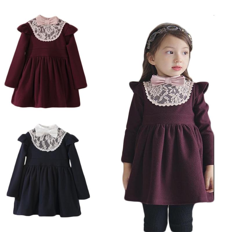Enfant En Bas Ge Fille Hiver Robes Petites Filles Coton Chaud Princesse Enfants Pais Dentelle Bow Ans W682