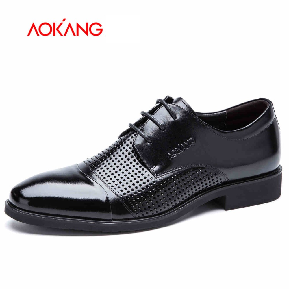 Aokang 2017 New Arrival Summer  Shoes Genuine Leather Dress Shoes  man shoes Cool Fashion shoes man Free shipping