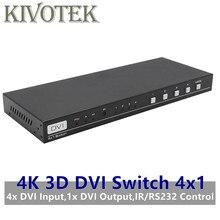 4K 3D 1080P DVI Interruttore 4x1 Switcher Adattatore DVI D Connettore Femmina IR RS232 Controllo AC3 DSD per CCTV DVD del PC Macchina Fotografica di Trasporto Libero