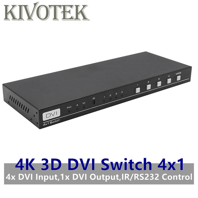 4K 3D 1080P DVI Switch 4x1 Switcher Adapter DVI D Female Connector IR RS232 Control AC3 DSD For CCTV PC DVD Camera Free Shipping