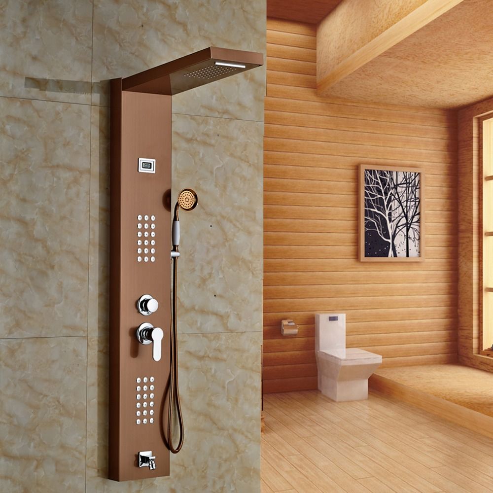Rose Gold Finished Wall Mounted Bathroom Tub Faucet Rectangle Rain ...