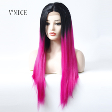 Middle Part Heat Resistant Color Dark Roots Ombre Pink Wig S