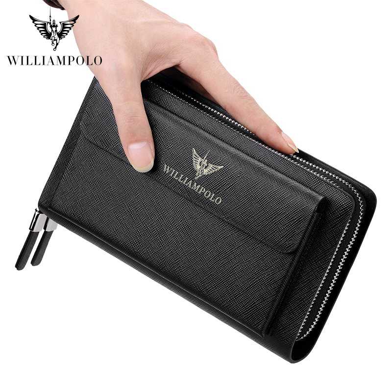 2019 New WILLIAMPOLO Men Clutch Bag Wallet Genuine Leather Strap Flap Clutches with 21 Card Holder Elegant Handy Wallet For Male-in Wallets from Luggage & Bags    1