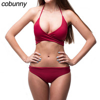 Cobunny Sexy Halter Bikini Set 2018 Women Swimsuit Swimwear Padded Brazilian Bikini Set Beach Bathing Suit
