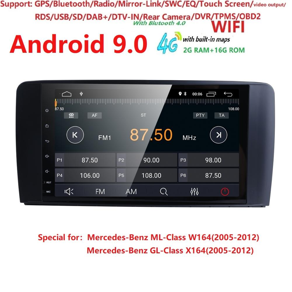 2+16 Android 9 CAR Auto Audio player GPS FOR BENZ <font><b>ML</b></font> 320/<font><b>ML</b></font> <font><b>350</b></font>/<font><b>W164</b></font>(2005-2012) Multimedia navigation head device unit receiver image