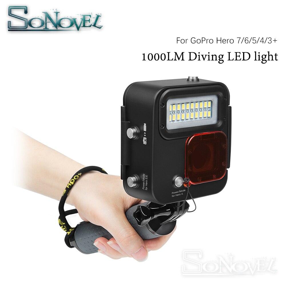 SHOOT 1000LM buceo luz LED funda impermeable para GoPro Hero 7 6 5 negro 4 3 + Cámara de Acción plateada con accesorio para Go Pro 7 6