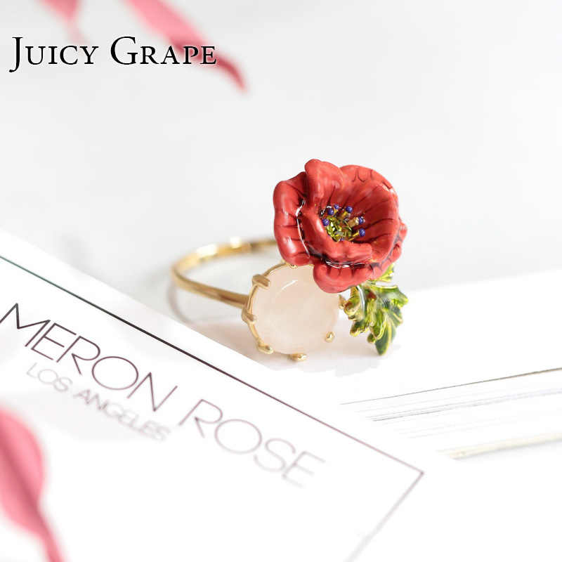 Juicy Grape Gilded Enamel Glaze Ring Corn Poppy Crystal Inlay Open Designer Ring Women Fashion Charm Vintage Jewelry