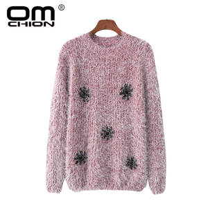 OMCHION Pull Femme 2018 Autumn O Neck Snow Heart Christms Mohair  SweaterCasual Loose Sweet Women Pullover Knit Jumper LMM174 8ccef5f7c