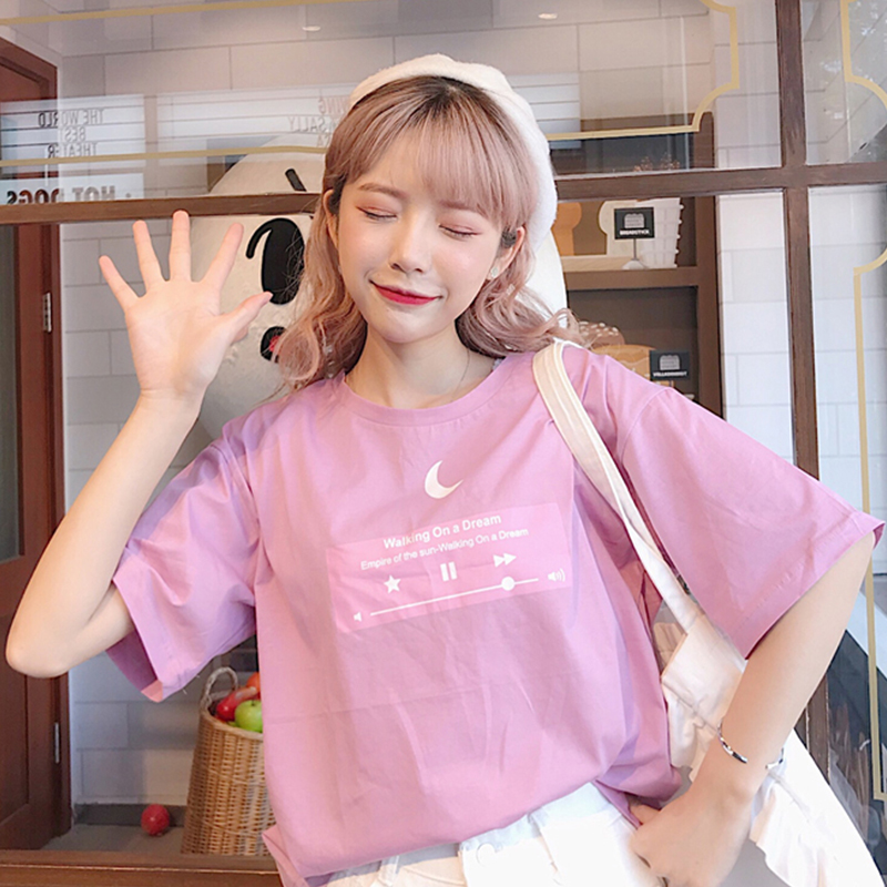 Korean Sailor Moon Embroidery New Tops Fashion Female Large Size Loose Casual Female Summer Half Sleeve O-neck Fun Sweet Shirt Elegant Shape Women's Clothing