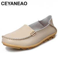 CEYANEAO Summer Candy Colors Genuine Leather Women Casual Shoes Fashion Breathable Slip On Peas Massage Metal