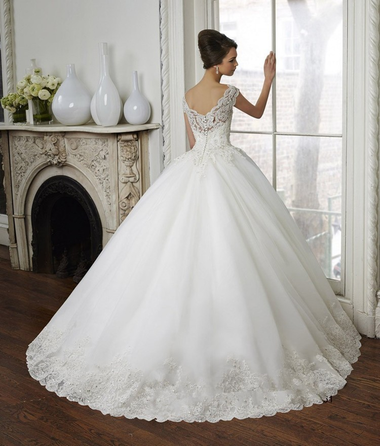 robe de mariage 2017 Hot Sale Ball Gown Beatiful Appliqed V Neck ...