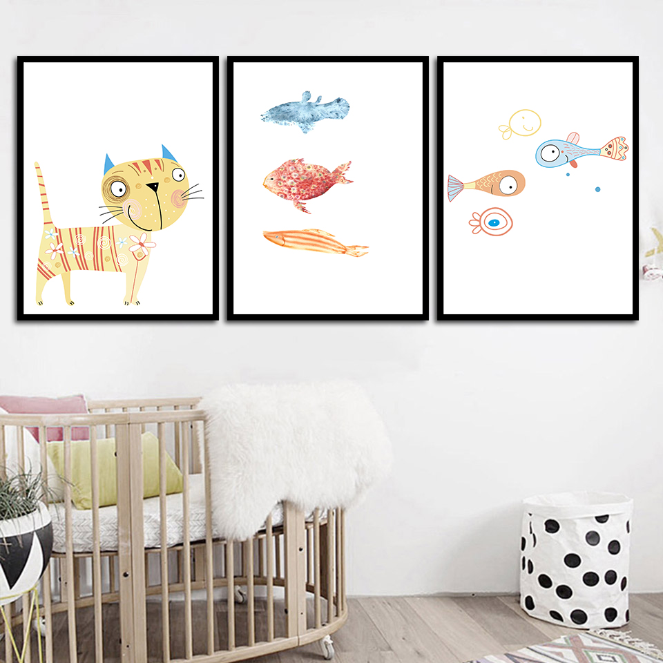 3 PCS Kawaii Animals Black Cats Canvas Art Print Poster Nordic Wall Pictures Hom