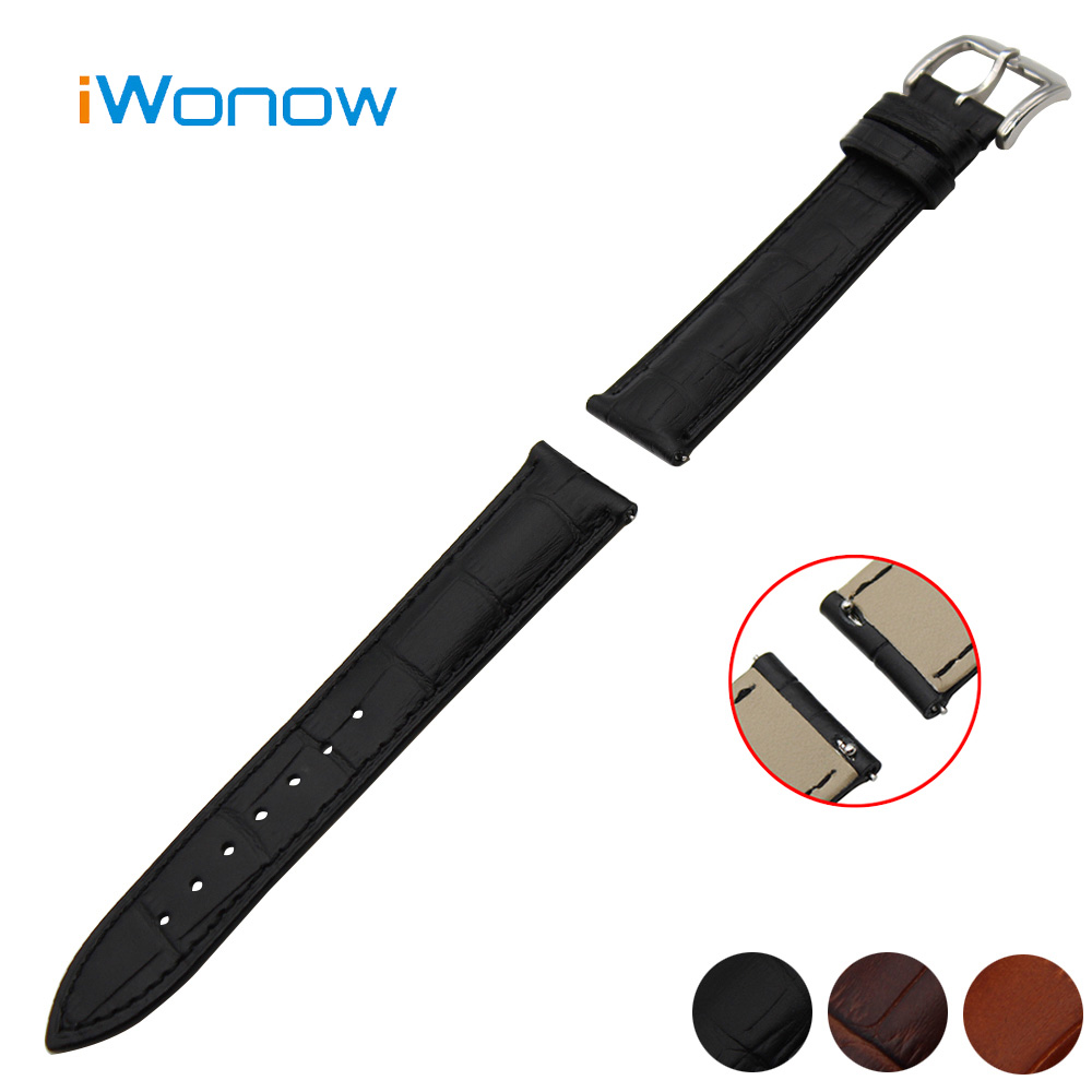 Genuine Leather Watchband 18mm for Huawei Watch Stainless Pin Buckle Strap Quick Release Band Wrist Belt Bracelet Black Brown