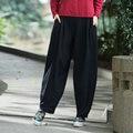 Women Cotton Linen Harem Pants Female Vintage Autumn New Solid Color Casual Loose Elastic Waist Pockets Full Length Pants