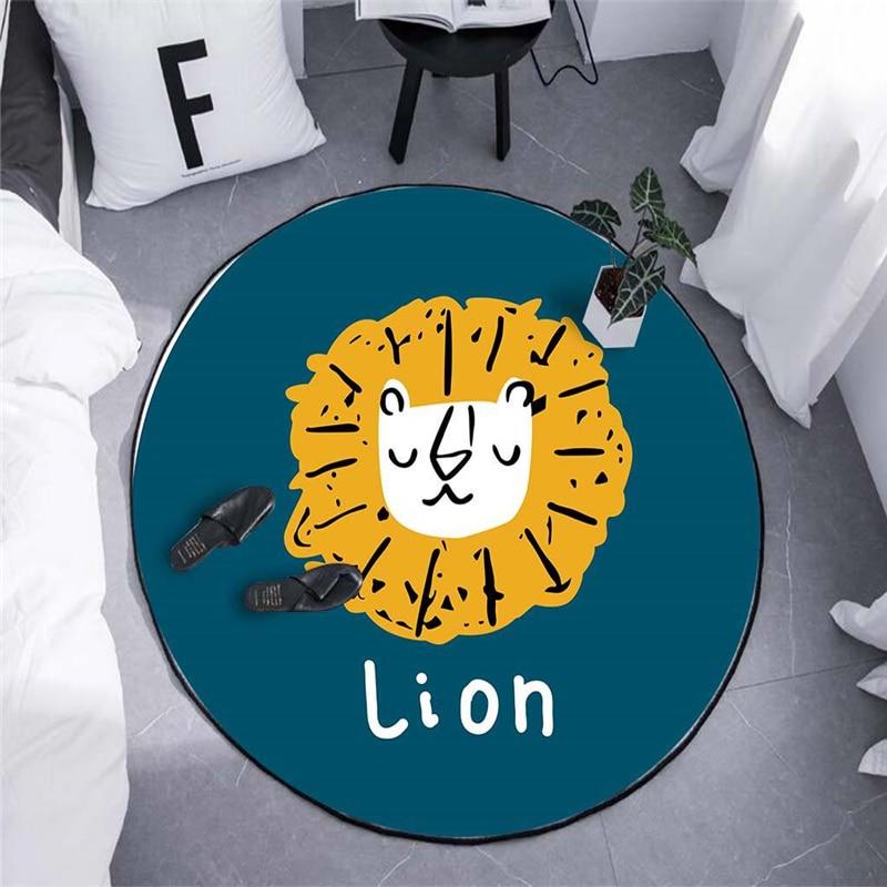 Cartoon Lion Round Carpet For Living Room Bedroom Home Decor Rug Children Kids Soft Play Area Chair Mat