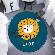 Cartoon Lion Round Carpet For Living Room Bedroom Home Decor Rug Children Kids Soft Play Area Chair Mat